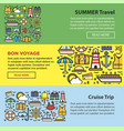 Summer travel and sea cruise vacation web banners vector image