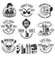 set of vape shop emblem templates smoke shop vector image