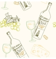 Bottle of wine grapes and cheese vector image