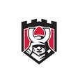Samurai Warrior Mask Helmet Shield Retro vector image