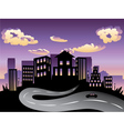 Sunset City and Road Silhouette4 vector image