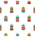 colorful tiki mask seamless pattern vector image