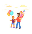 father with son holding balloons daughte on arms vector image