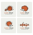 Funny hedgehog logo set for your design vector image