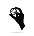 hand with euro black vector image