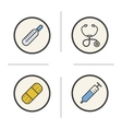 Medical equipment color icons set vector image