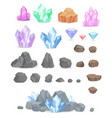 natural crystals and stones set vector image