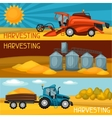 Set of harvesting banners Combine harvester vector image