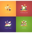 Set of travel flat design compositions vector image
