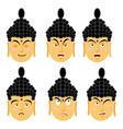 Emotions buddha Set expressions avatar Indian god vector image