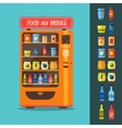 Vending Machine with Food and Drink Packaging Set vector image