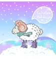 2015 new year card with cartoon sheep and speech vector image vector image