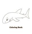 Coloring book shark cartoon educational vector image