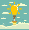 businessman fly in lightbulb like a hot air vector image