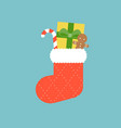 christmas socks with candy cane vector image