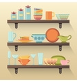 Kitchen shelves with colorful tableware vector image