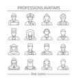 Professions Avatars Line Icon Set vector image