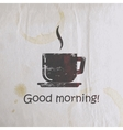 with scratched coffee cup on old wrinkled paper vector image