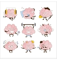 Brain Different Activities And Emoticons Icon Set vector image