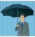 Pop Art Happy Businessman with Umbrella vector image