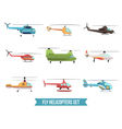 Flying Helicopters Set vector image