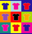 t-shirt sign pop-art style colorful icons vector image