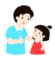 dad admire his daughter character cartoon vector image