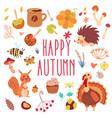 happy autumn cute set vector image