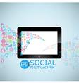 Template design digital tablet idea with social vector image vector image