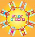 happy summer beach people vector image vector image