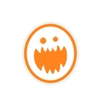 Sticker bright monster with sharp teeth on a white vector image