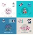 Nanotechnology 4 flat icons square banner vector image
