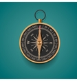 Vintage brass compass isolated background vector image vector image