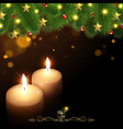 Christmas Background with Burning Candles vector image