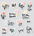set stickers calligraphy love design vector image