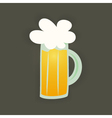 St Patrick Day glass beer mug on a brown vector image