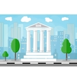 Bank building with trees and city skylines behind vector image