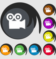 video camera icon sign Symbol on eight colored vector image vector image