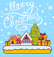 christmas house with hand written text on vector image