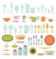 Kitchen utensils and cookware icons set vector image