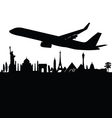 plane above the city black vector image