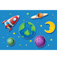 Rocket and many planets in space vector image