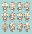 vintage style mexican skull set vector image