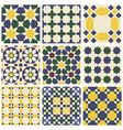 Set of nine oriental Mauritanian seamless patterns vector image