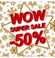 Winter sale poster with WOW SUPER SALE MINUS 50 vector image