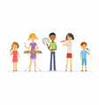 happy schoolchildren playing music - cartoon vector image