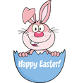 Cartoon rabbit in easter egg vector image