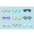 Set of flat glasses vector image