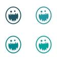 Sticker assembly bright monster with sharp teeth vector image