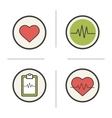 Cardiology color icons set vector image